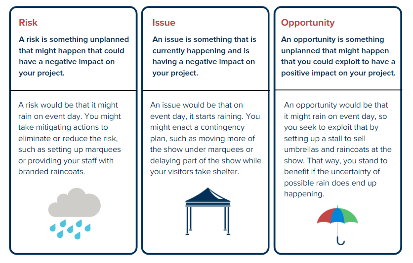 difference between risk issue opportunity graphic